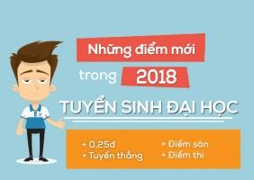 điểm mới trong tuyển sinh đại học 2018