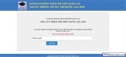 Trang web tra cứu điểm thi thpt 2018