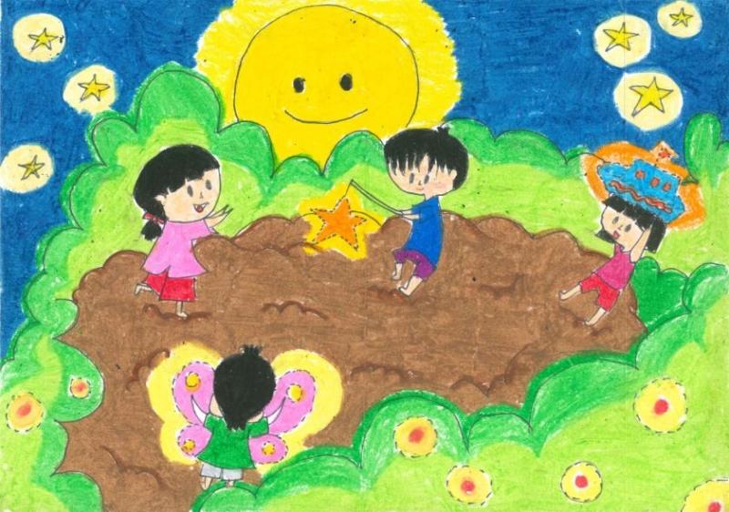 Bức tranh vẽ trung thu: bé vui trung thu cùng trăng