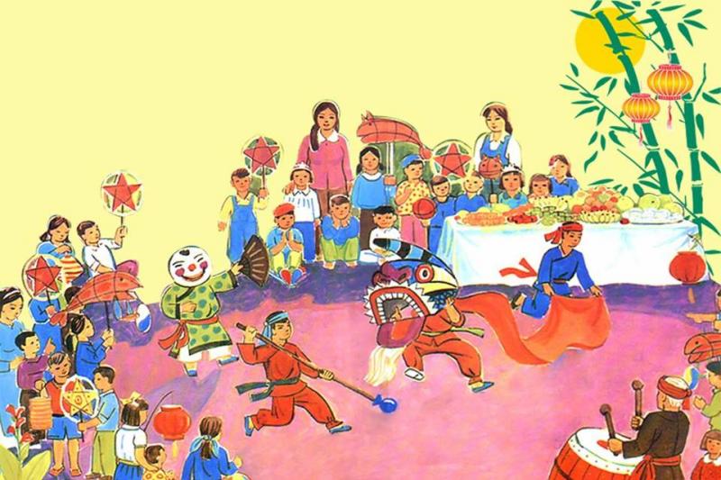 Bức tranh vẽ trung thu: Ngày hội trăng rằm