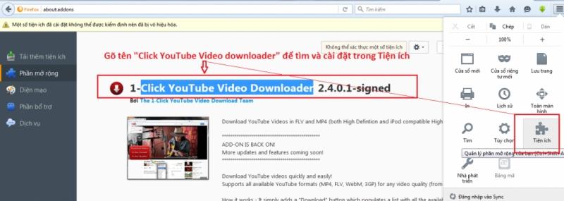 1-Click YouTube Video Download (add-on trên Firefox)