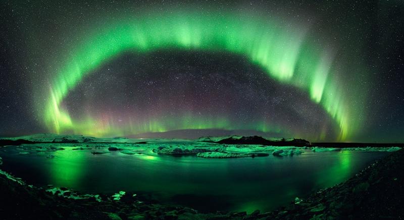 Hiện tượng cực quang tuyệt đẹp tại Iceland