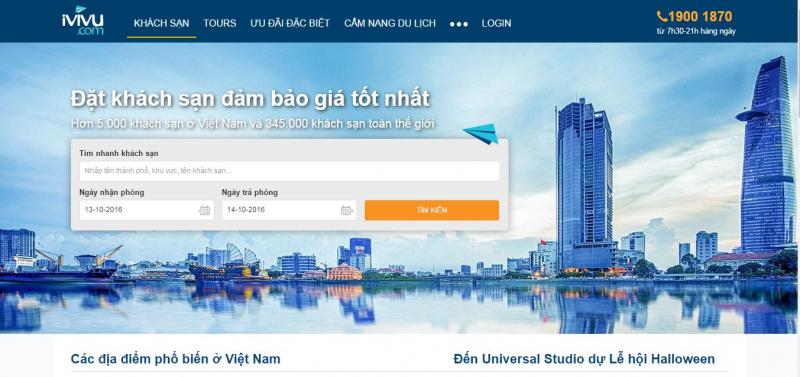 Giao diện website của ivivu.com