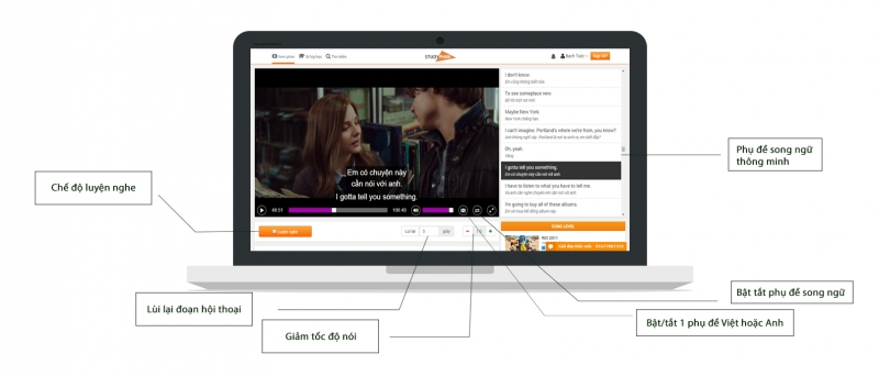 Giao diện trang web Studyphim.vn