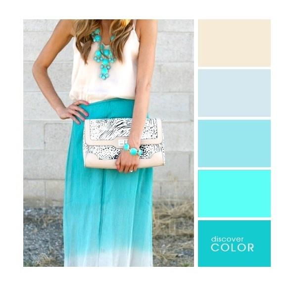 Gợi ý phối màu trang phục: Xanh ngọc - xanh biển - vàng
