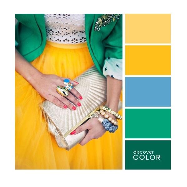 Gợi ý phối màu trang phục: Xanh ngọc - xanh dương - vàng