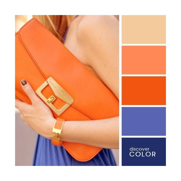 Gợi ý phối màu trang phục: Xanh đen - tím - cam.