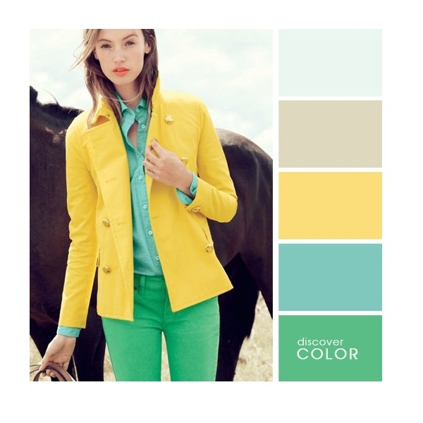 Gợi ý phối màu trang phục: Xanh lá - vàng chanh - xanh lơ.