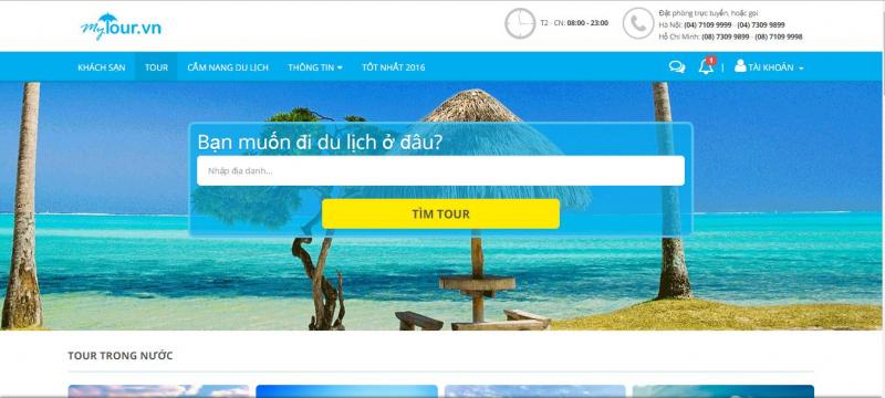 Giao diện website Mytour