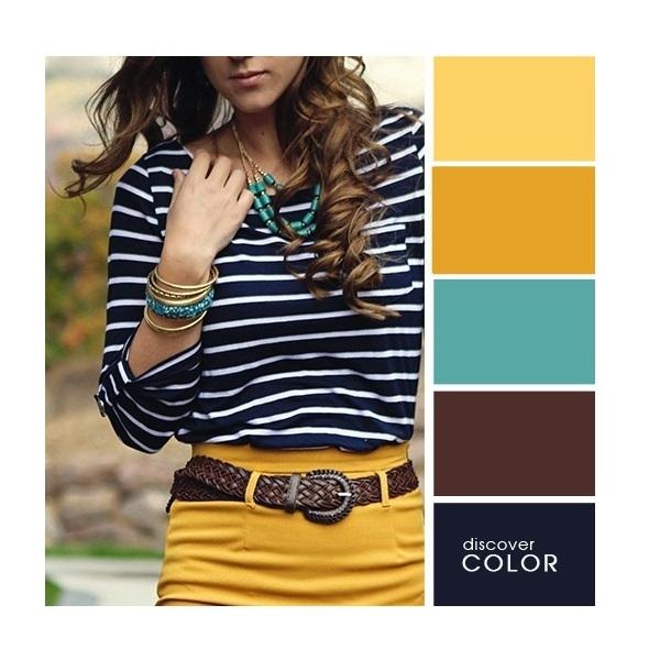 Gợi ý phối màu trang phục: Vàng - đen - trắng - xanh ngọc.