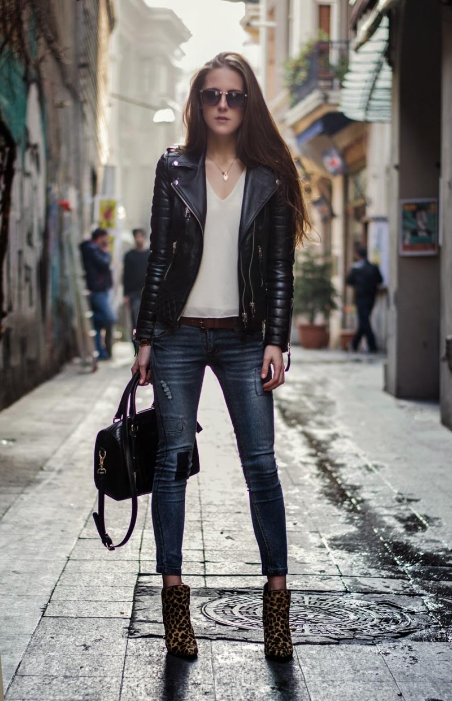 Áo khoác da nữ tay dài