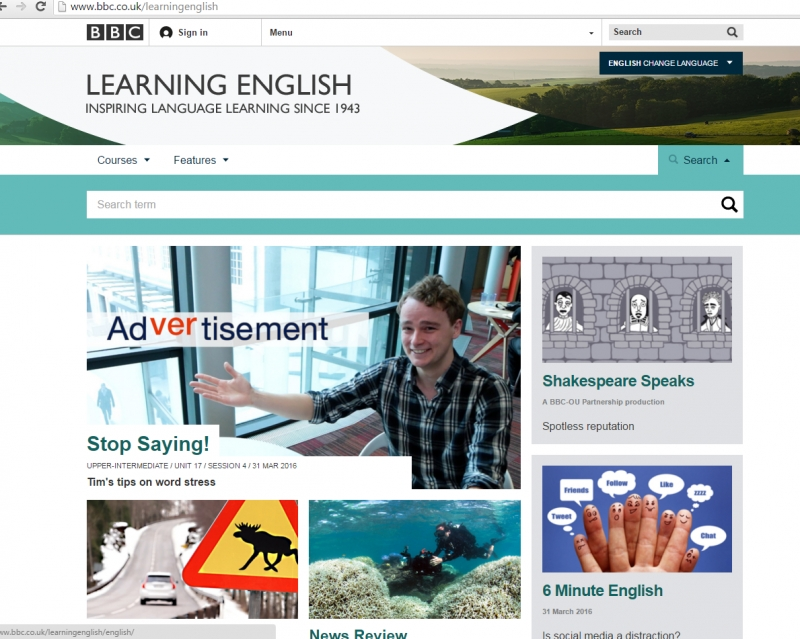Giao diện website BBC Learning English