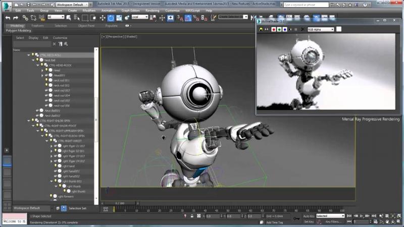 Giao diện 3Ds Max đang thiết kế nhân vật game