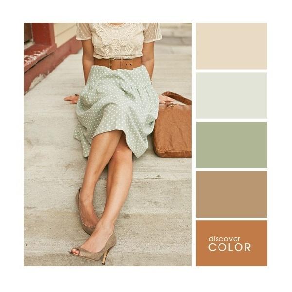 Gợi ý phối màu trang phục: Nâu đất - nâu nhạt - xanh mạ - nude.