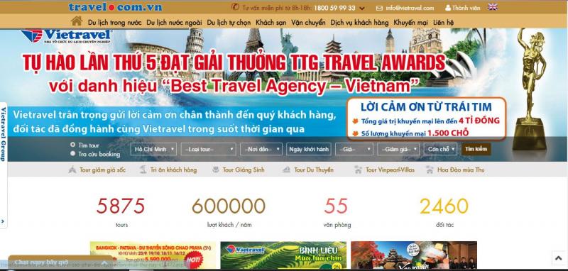 Giao diện website Viet travel