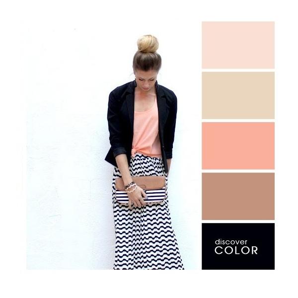 Gợi ý phối màu trang phục: Đen - nude - hồng nhạt - da cam.