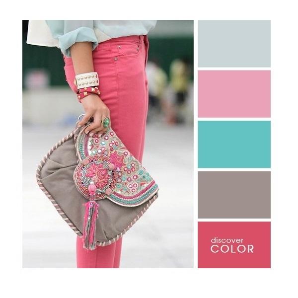 Gợi ý phối màu trang phục: Xanh xám - hồng nhạt - xanh ngọc - hồng dâu.