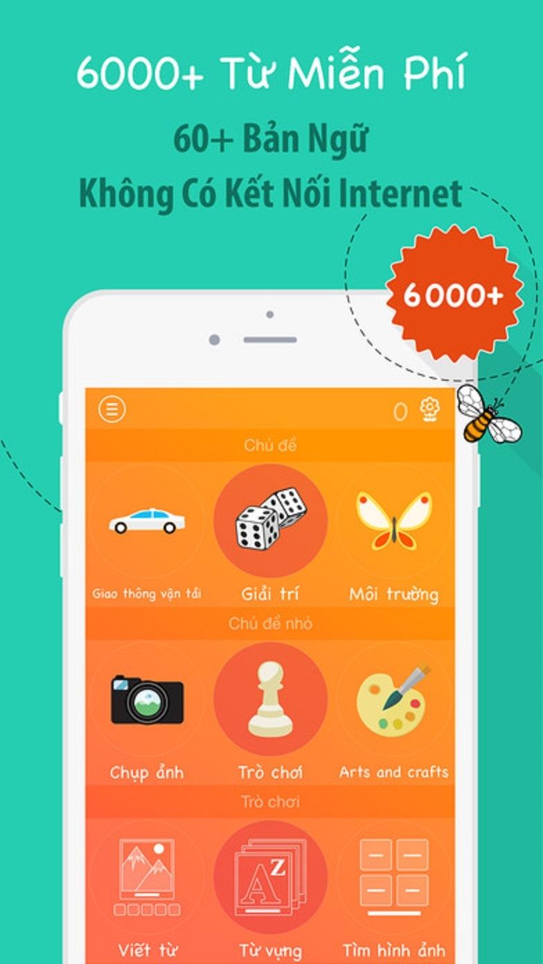Giao diện của ứng dụng 6000 từ - Học tiếng Hàn với  Fun Easy Learn
