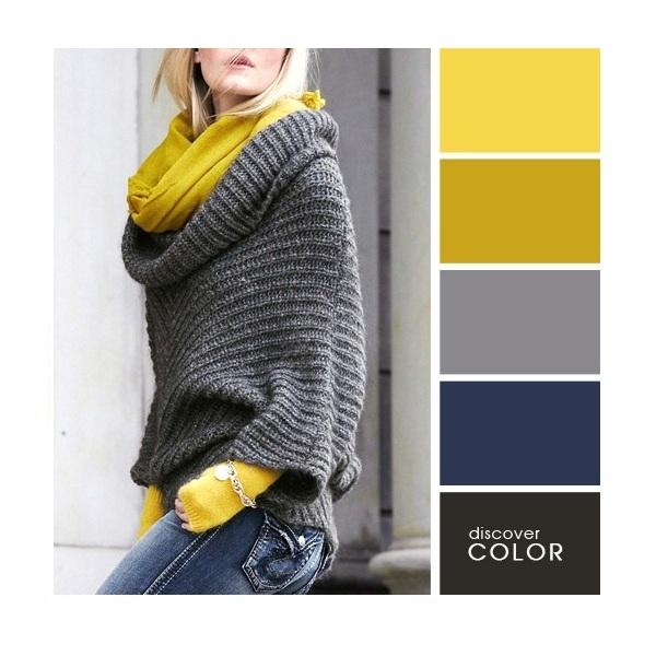 Gợi ý phối màu trang phục: Vàng - xám - xanh đen.