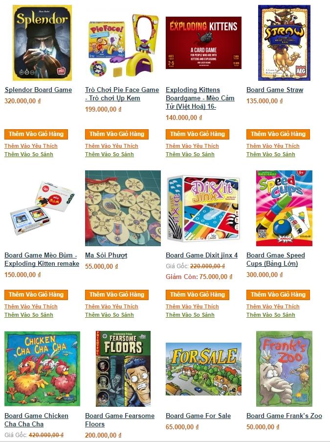Một số board game tại 7 Gift Shop