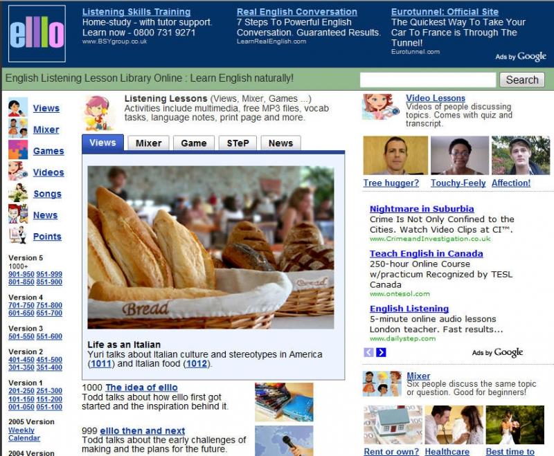 Giao diện trang web Elllo.org