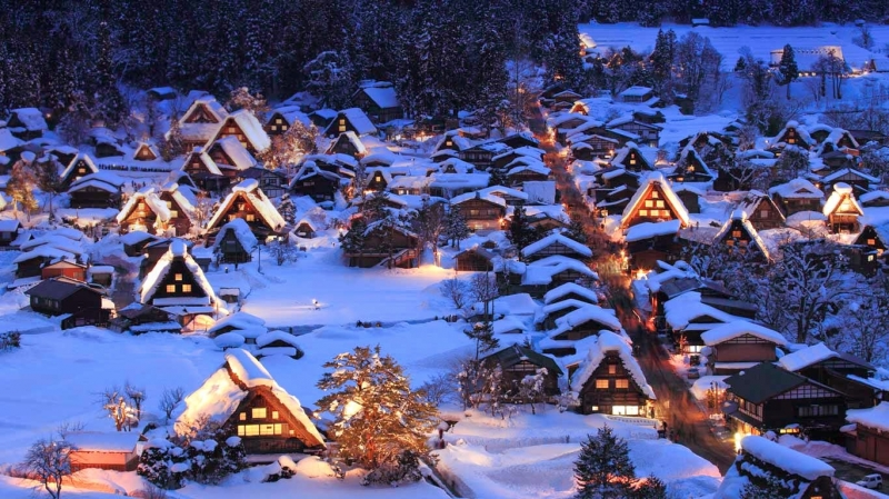 Làng Shirakawa là địa điểm nghỉ đông tuyệt với nhất ở Nhật Bản