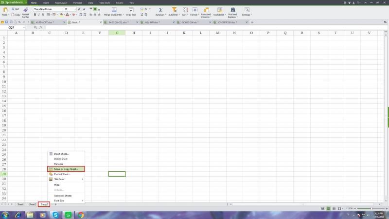 9. Coppy Sheet sang file Kingsoft Spreadsheet khác