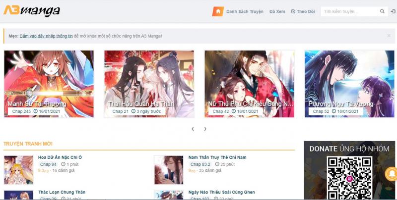 Giao diện của trang web A3manga