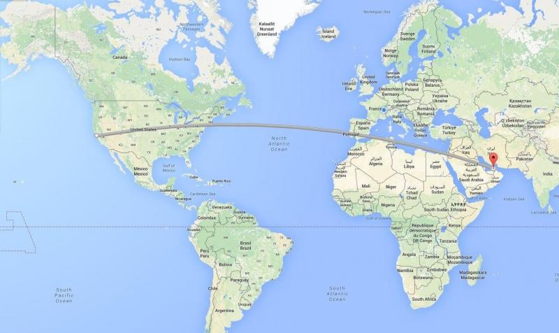 Tiếp tục là một chuyến bay dài nhất thế giới xuất phát từ Trung Đông và kết thúc ở nước Mỹ.