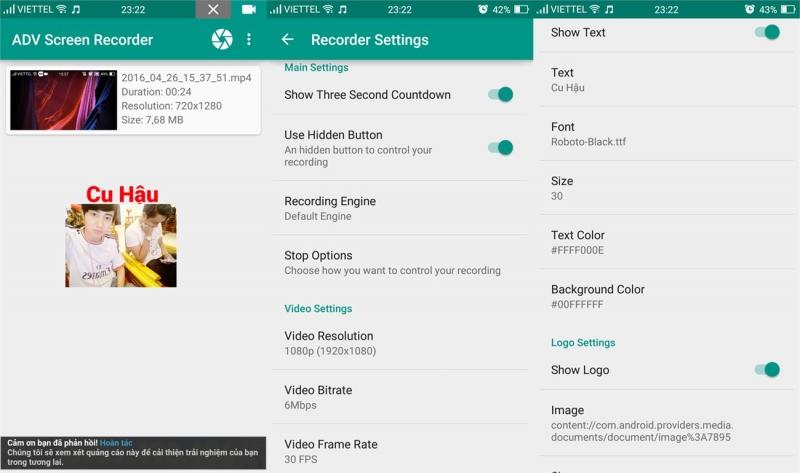 Người dùng có thể thêm chữ, hình ảnh ngay trong quá trình quay màn hình của ứng dụng.