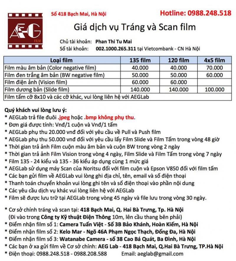Bảng giá dịch vụ tráng và scan film tại AEG Lab