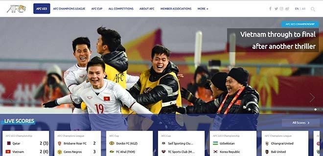 Trang chủ AFC đưa hình ảnh chiến thắng của U23 Việt Nam