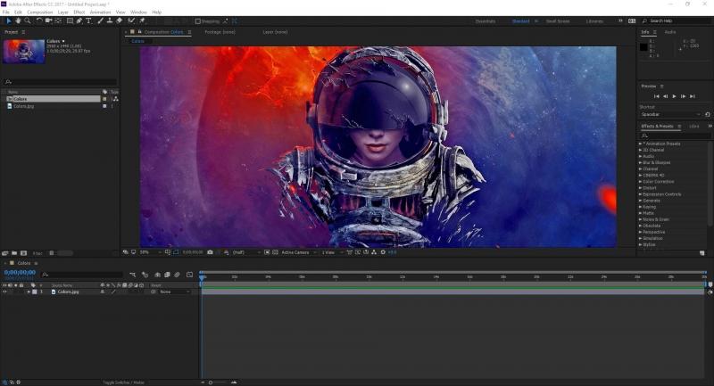 Giao diện After Effect đang làm hiệu ứng kỹ xảo cho video