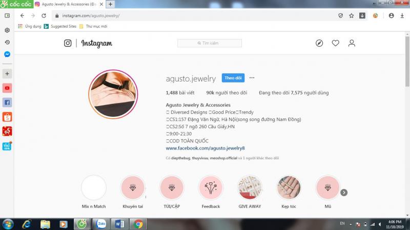 Kênh Instagram của Agusto Jewelry