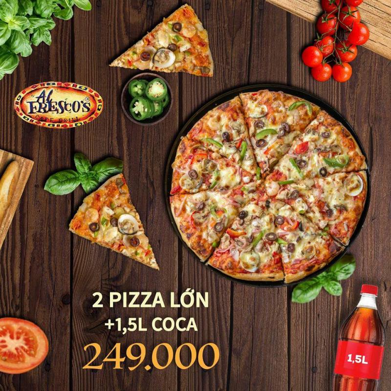 Pizza của  Al Fresco's có đế mỏng, nhân nhiều và tràn đầy cả phần bánh