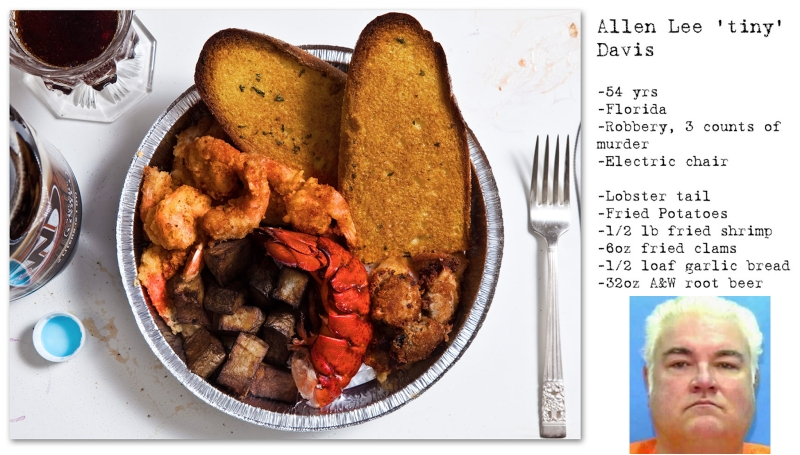 Bữa ăn cuối cùng của Allen Lee Davis bao gồm đuôi tôm hùm hấp, tôm chiên, khoai tây chiên, ngao chiên, bánh mì bơ tỏi và một cốc bia lớn