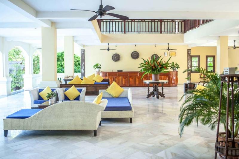 Sảnh check in của resort được thiết kế vô cùng tinh tế, đẹp mắt