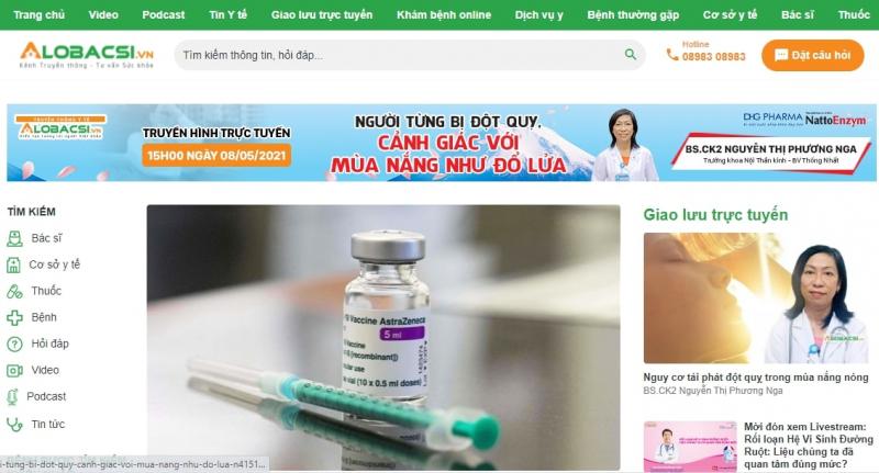 Giao diện website Alo Bác sĩ