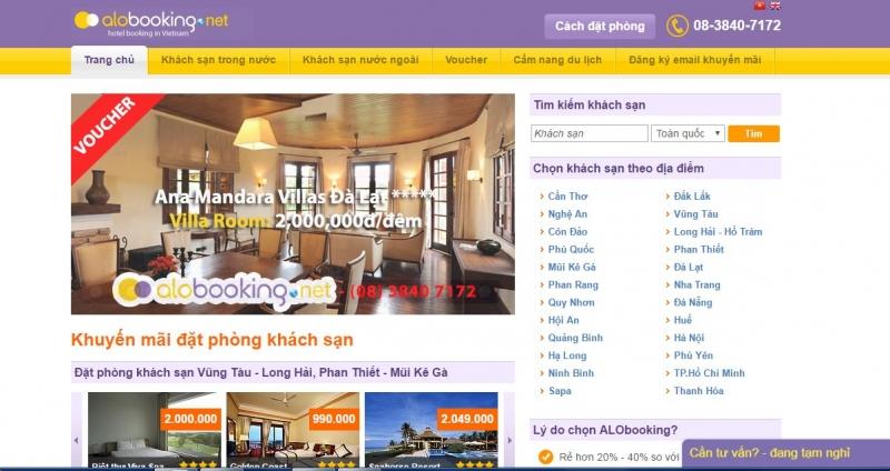 Giao diện website của Alobooking