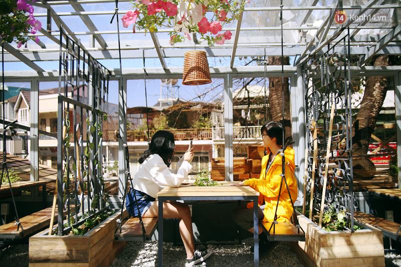Không gian ngập tràn màu xanh của cây cối, rau củ
