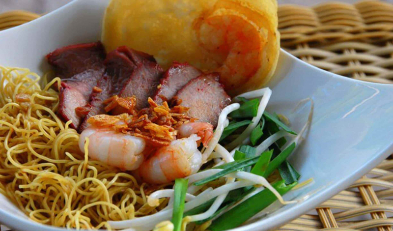Delicious dried char siu noodles