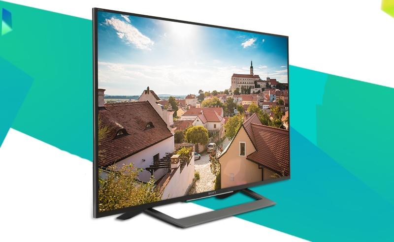 Android tivi Sony KD 43X8000D 43 inch nổi bật với thiết kế đơn giản mà ấn tượng, hiện đại
