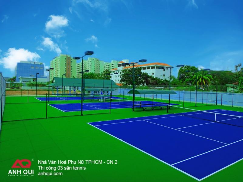 Sân tennis tiêu chuẩn được AnhQui Sports thiết kế thi công
