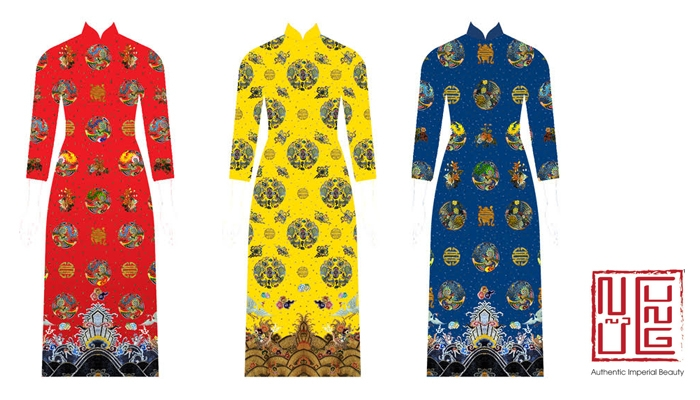 Trưng bày và bán các sản phẩm áo dài đẹp do Nữ cung thiết kế và sản xuất