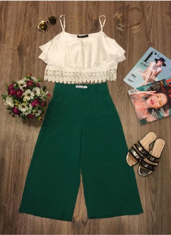 Áo hai dây + quần culottes