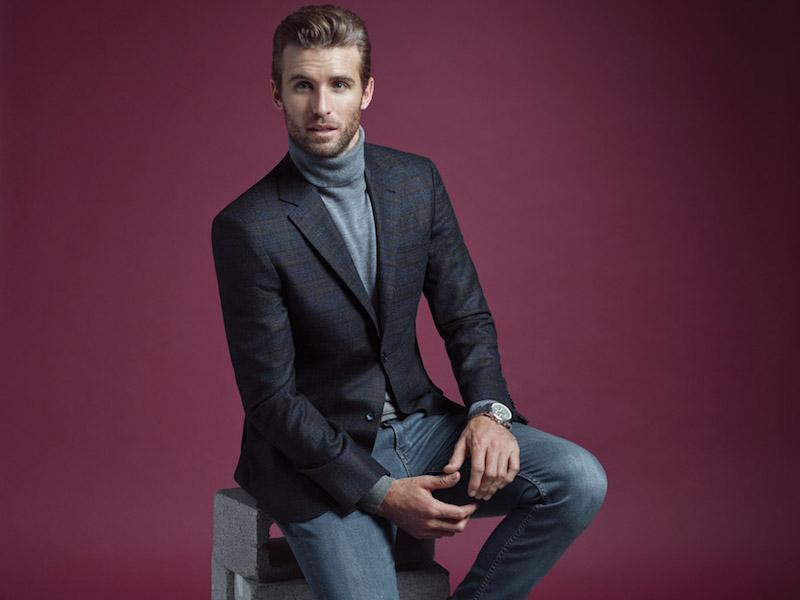 Áo len cổ lọ + áo vest + quần jean