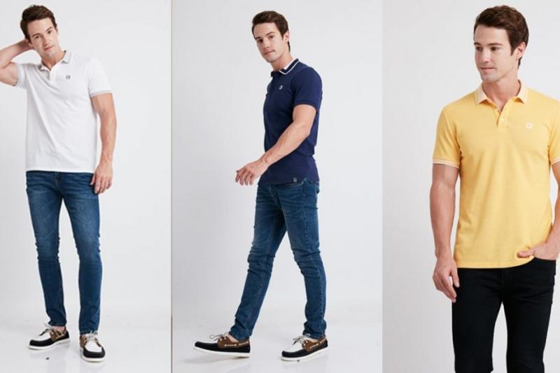 Áo polo  + quần jeans + giày thể thao