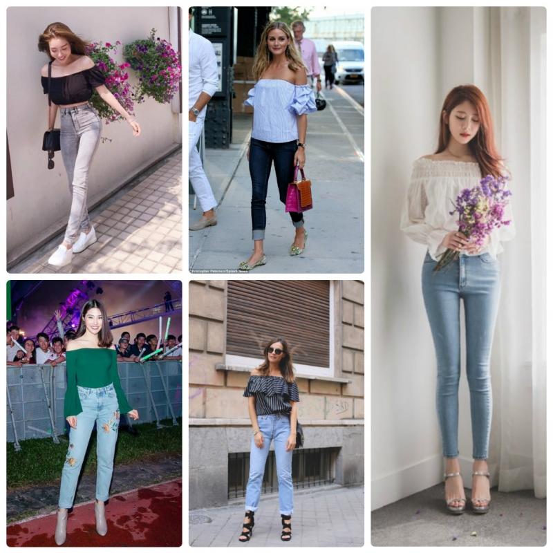 Áo trễ vai kết hợp cùng quần jeans