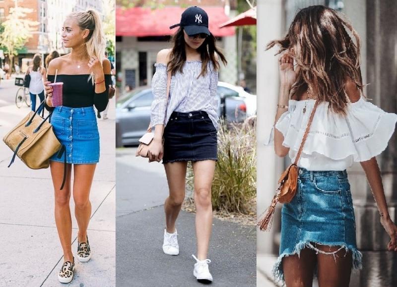 Áo trễ vai kết hợp với váy jeans
