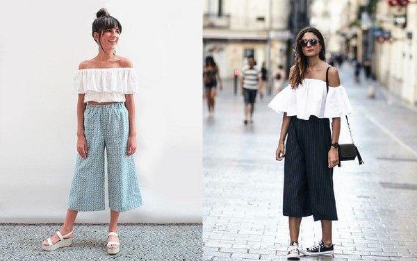 Áo trễ vai với quần culottes